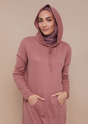 Relaxed Knit Hoody Tea Rose