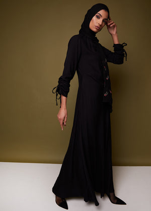Ruched Sleeve Abaya in Black by Aab