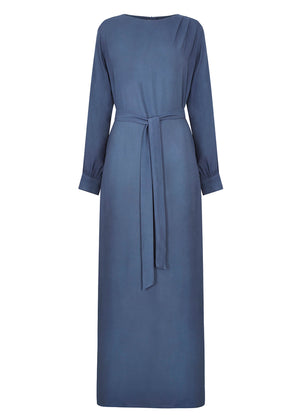 Shoulder Pleat Abaya Blue Aab