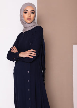 Side Button Abaya Aab