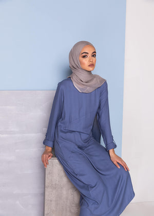 Side Slit Midi Blue