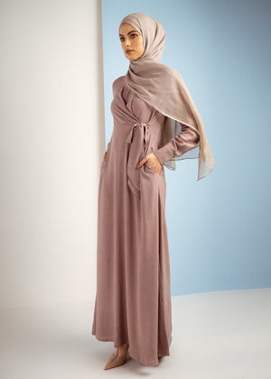 Side Tie Abaya Berry Aab