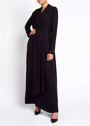 Side Wrap Abaya Black