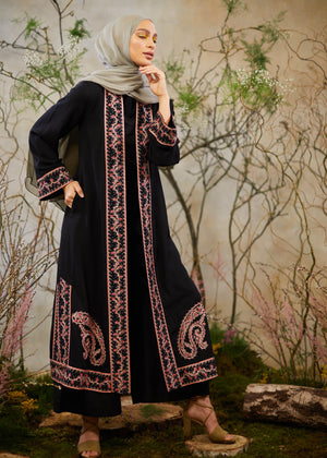 Trailing Vines Kimono in black by Aab