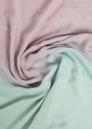Two Tone Green & Mauve Chiffon Silk Hijab