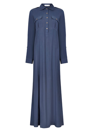 Crest Button Abaya Dusty Blue
