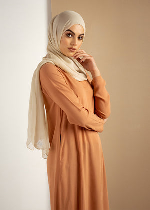 V Neck Midi Peach Aab