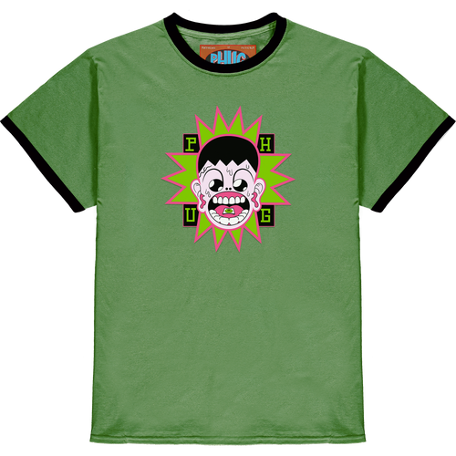 'BLOTTER BOY' RINGER T-SHIRT - MILITARY GREEN