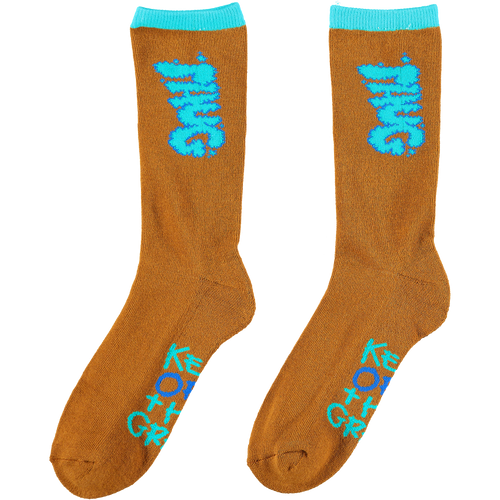 PHUG 'KEEP OFF THE GRASS' SOCKS - BROWN