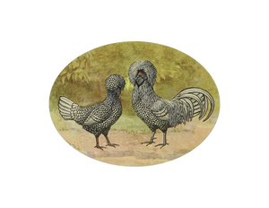 "Funny Chickens - 9x7"" oval"
