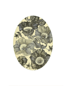 "Vintage Wallpaper Flower - 5 x 7"" Oval"