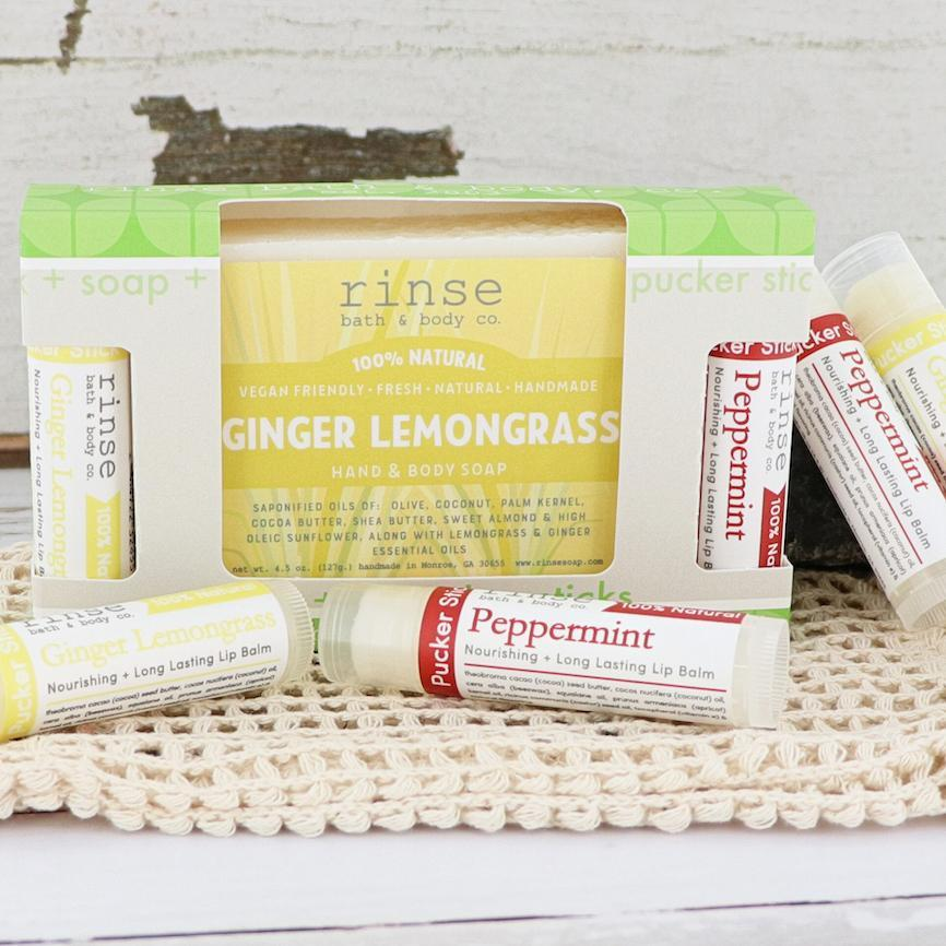 Ginger Lemongrass Soap + Pucker Stick Box - wholesale rinsesoap