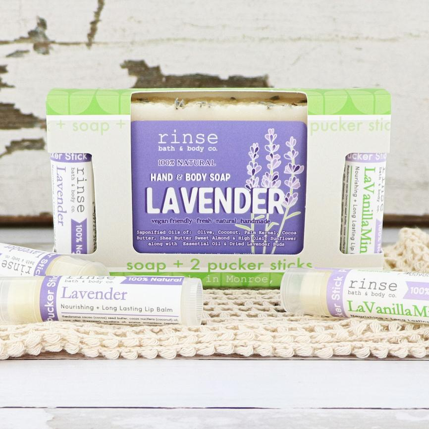 Lavender Soap + Pucker Stick Box - wholesale rinsesoap