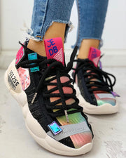 Knitted Breathable Lace-Up Casual Sneakers