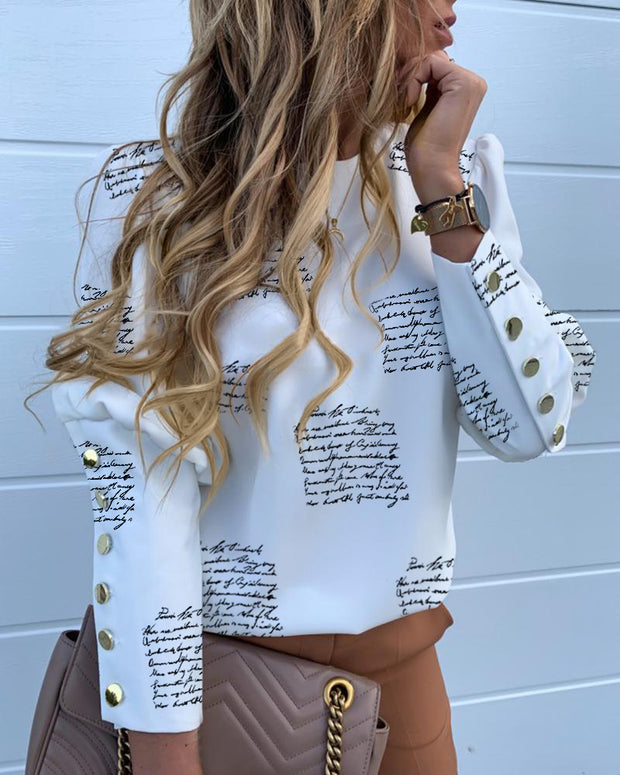 Round Neck Letter Print Popper Cuff Blouse