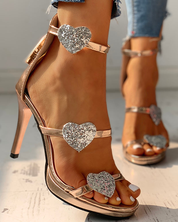 Sequins strap Heart Pattern Thin Heeled Sandals