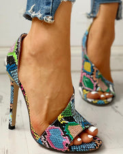 Colorblock Snakeskin Open Toe Thin Heeled Sandals