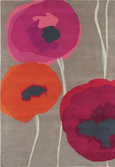 Poppies Red/Orange 45700 - The Rug Loft rugs ireland