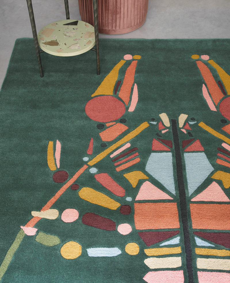 Ted Baker Emerging Lobster Green 160407 - The Rug Loft rugs ireland