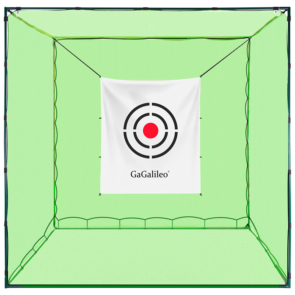 Galileo Sports Golf Net Cage Golf Net Golf Hitting Cage Golf Practice Driving Range 10'(L)X 10'(W)X 10'(H) with Target | High Impact Double Backstop Net | Automatic Ball Return