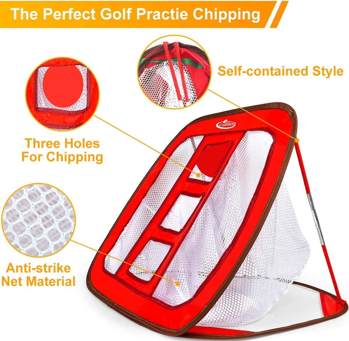 "Galileo Golf Chipping Net Training Aids with Foam Training Balls(12 pack) 24""(L) x 28(W) 