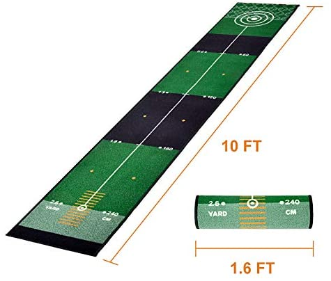 Galileo Golf Putting Green Golf Training Mat for Indoor & Outdoor with Carry Bag | 10'X1.6'Size