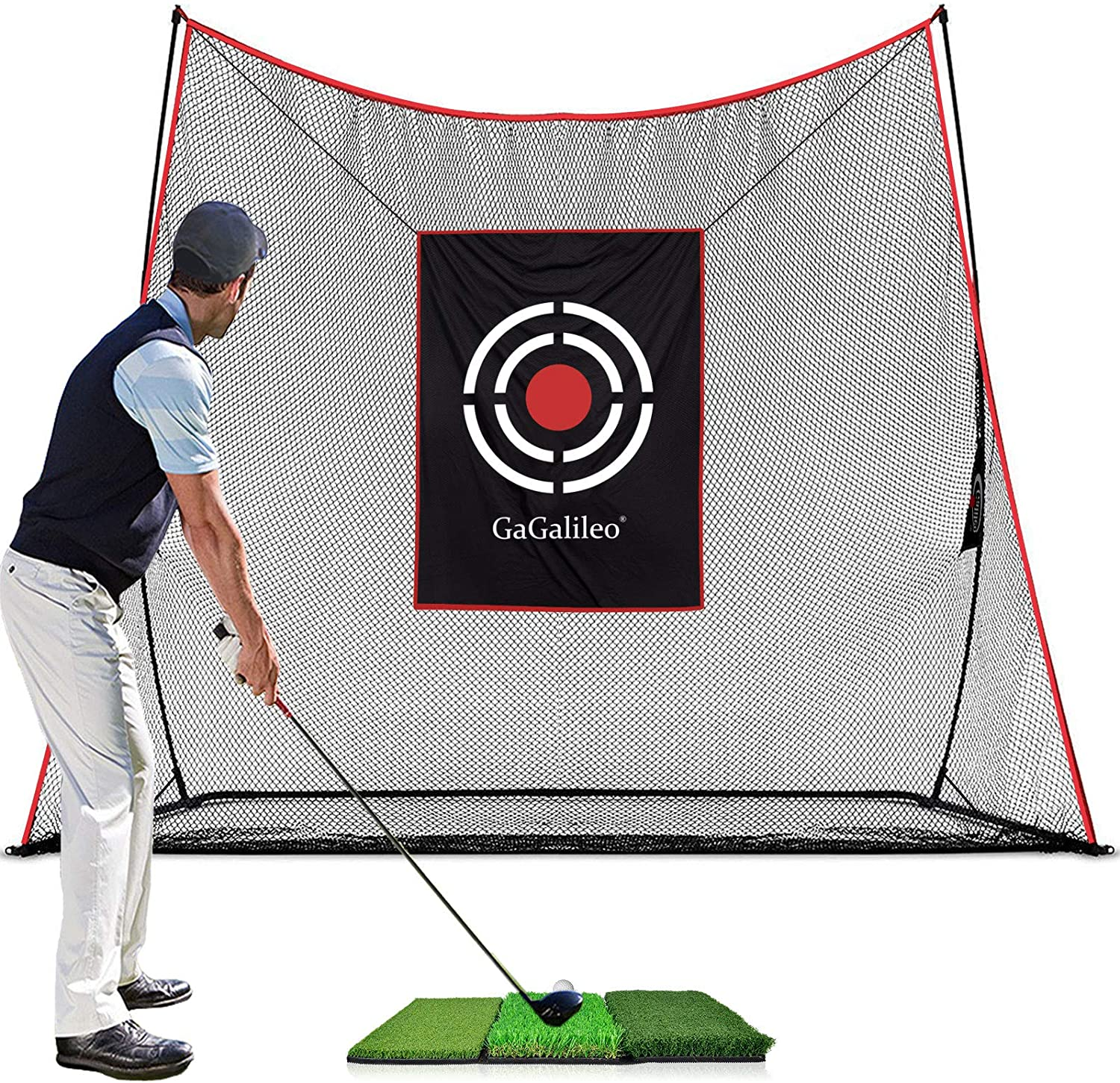 Galileo Sports Golf Practice Nets Golf Net for Backyard 10'(L)X 8'(H)X 3'(D) Golf Driving Range with Target and Carry Bag |Heavy Duty Golf Net 2021