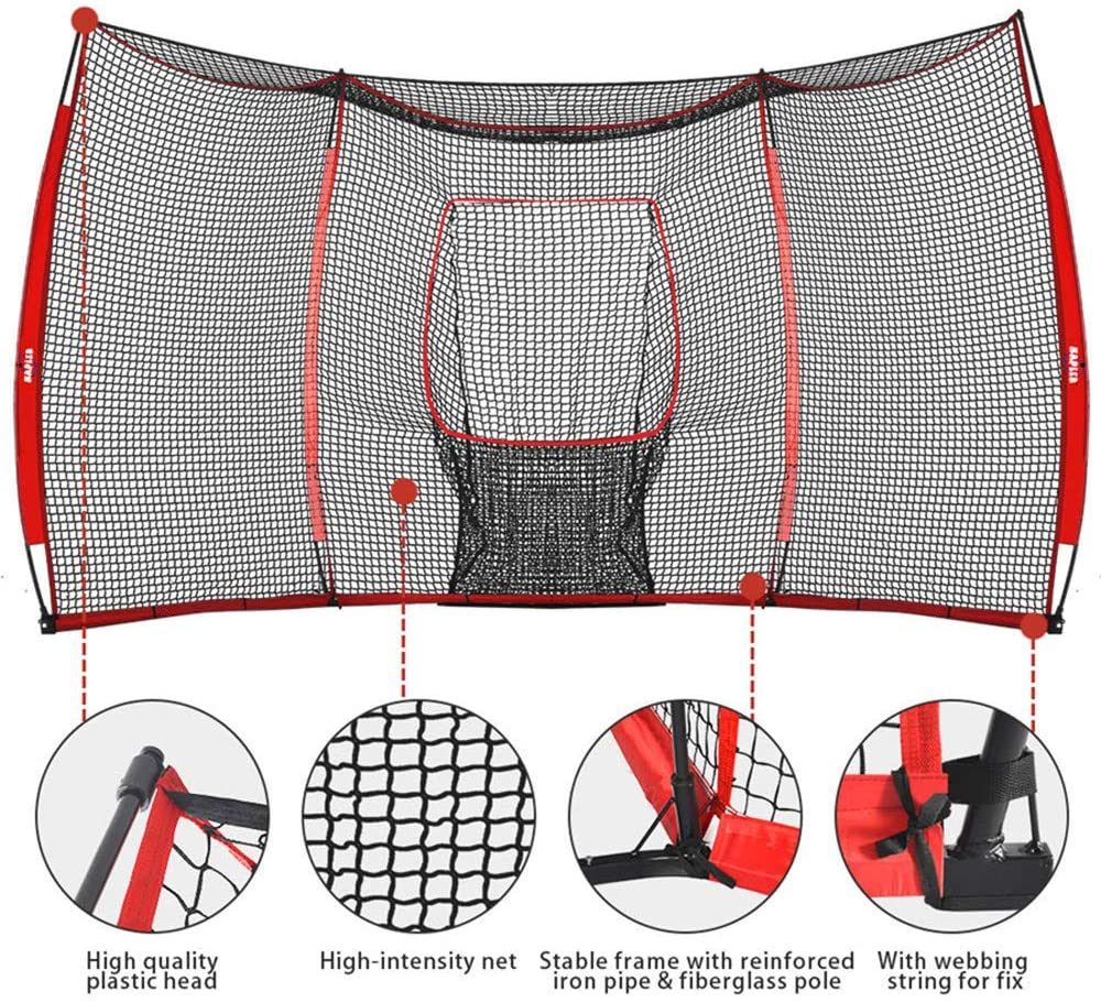 Galileo Baseball&Softball Practice Hitting Pitching Net with Carry Bag | Large Size 16'x9' Size