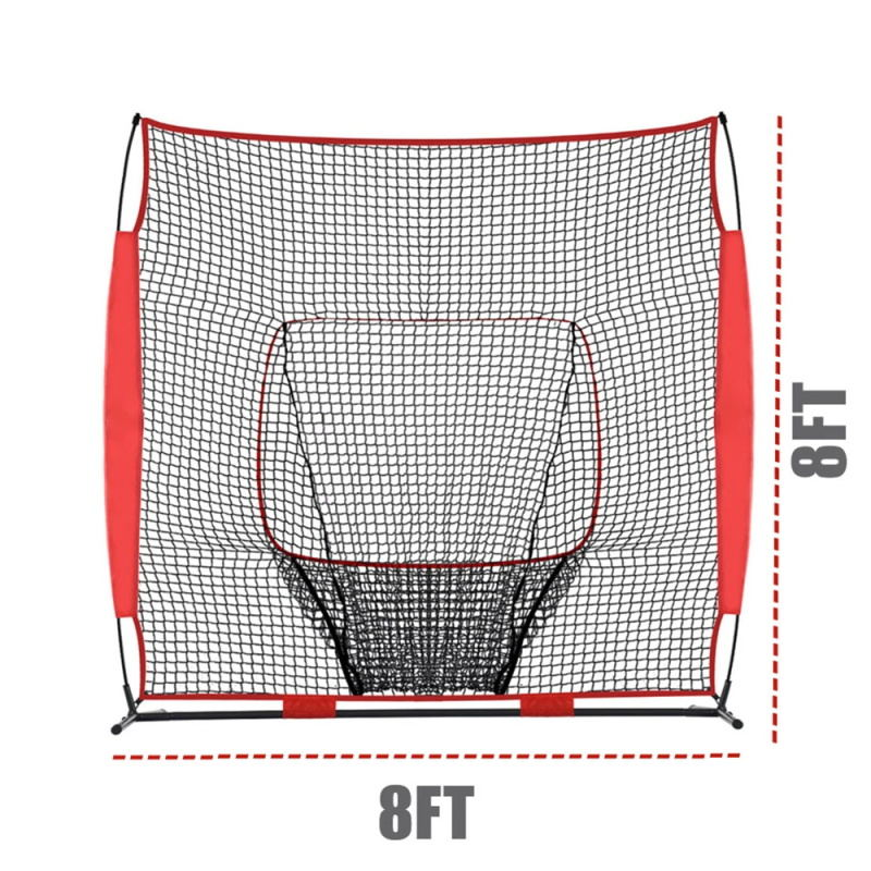 Galileo Baseball Softball Practice Pitching Net, 8FT x 8FT Baseball Softball Batting Net Strike Zone Target with Big Mouth Backstop Screen Training
