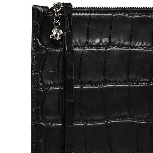 ALEXANDER MCQUEEN BLACK CROC EMBOSSED LEATHER POUCH