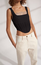 DION LEE RIB SHEER JERSEY CORSET (IVORY & BLACK)