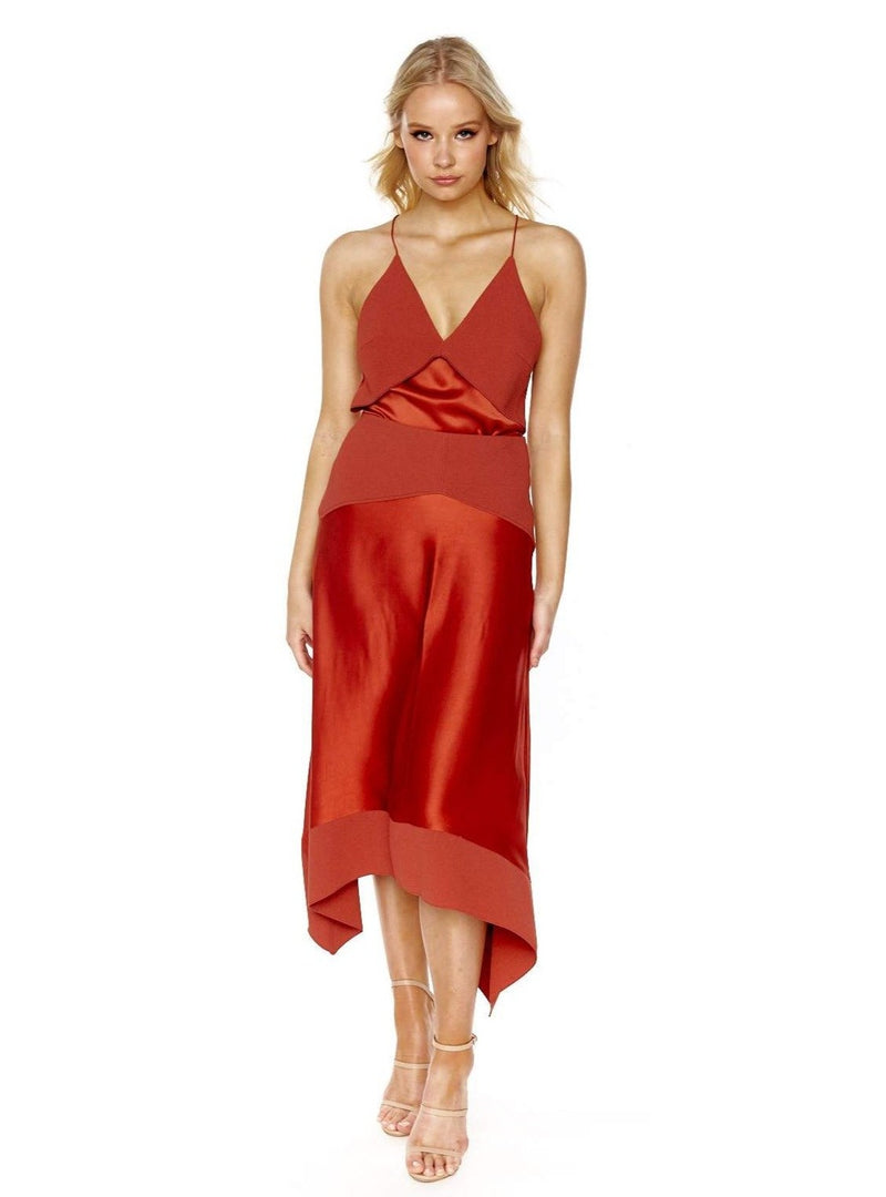 DION LEE TRANSFER CAMI TOP & TRANSFER SKIRT SET (AUBURN)
