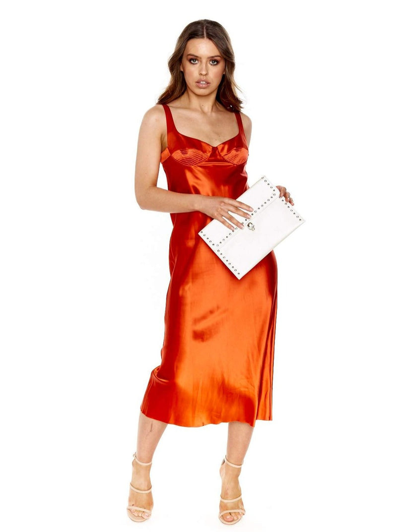 DION LEE LAYERED SILK SATIN DRESS (RED EARTH)