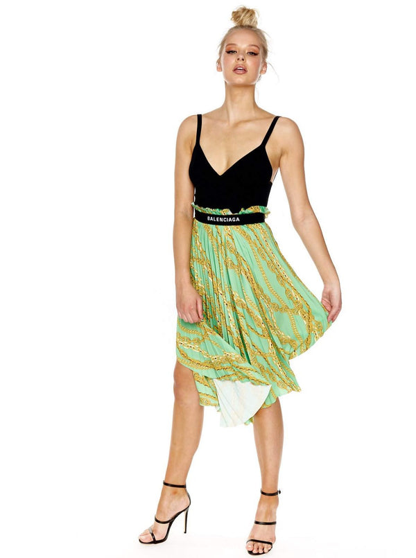 BALENCIAGA PRINTED ASYMMETRIC PLEATED SKIRT