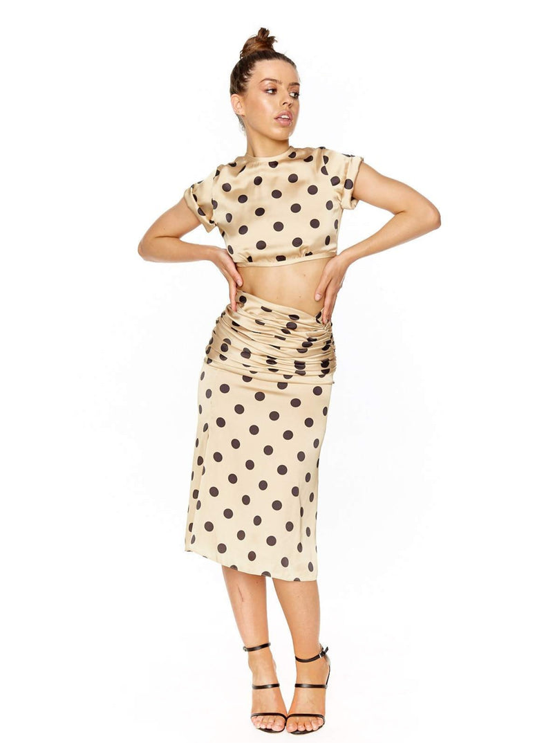 ORSEUND IRIS ROMANTIQUE SKIRT POLKA DOT SET (NUDE/BLACK)