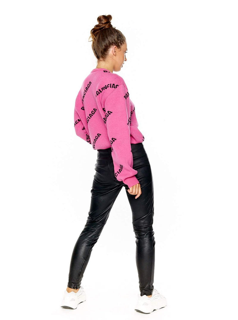 BALENCIAGA ALL-OVER PINK LOGO CREWNECK