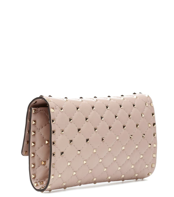 VALENTINO ROCKSTUD SPIKE LEATHER CLUTCH (NUDE)