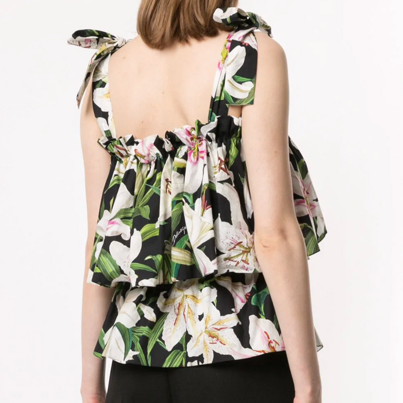 DOLCE AND GABBANA LILY PRINT TOP