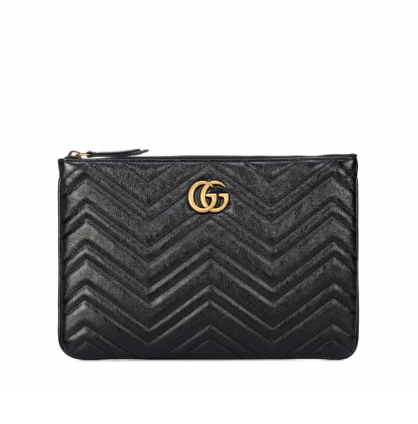 GUCCI GG QUILTED LEATHER CLUTCH (BLACK)