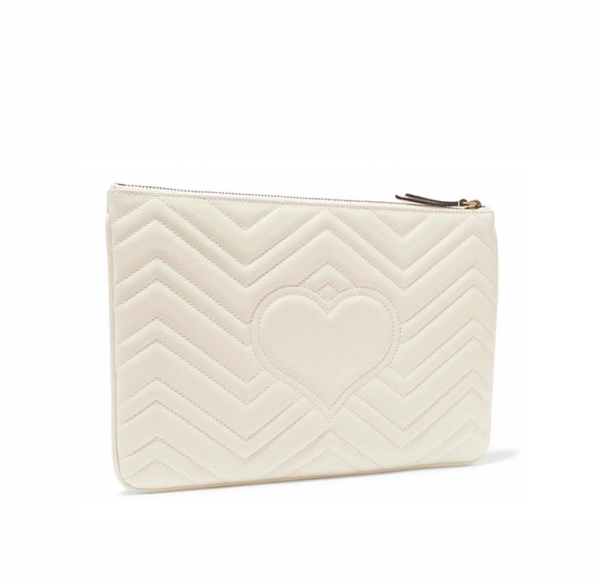 GUCCI GG QUILTED LEATHER CLUTCH (WHITE)