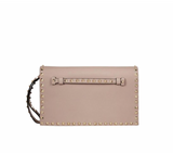 VALENTINO ROCKSTUD LEATHER CLUTCH (NUDE)