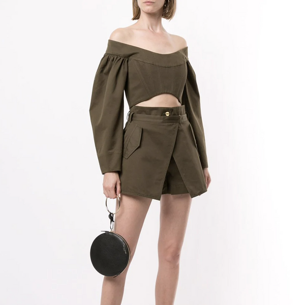 DION LEE CONVEX TWILL BUSTIER TOP (GREEN)