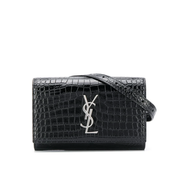 SAINT LAURENT KATE CROCODILE BELT BAG (BLACK)