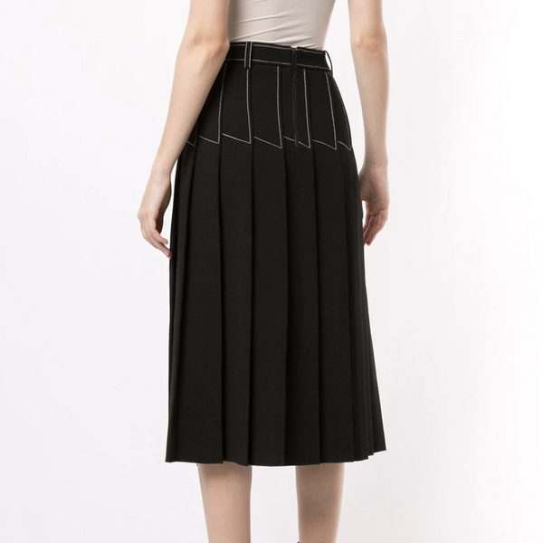 DION LEE COLUMN PLEATED MIDI SKIRT