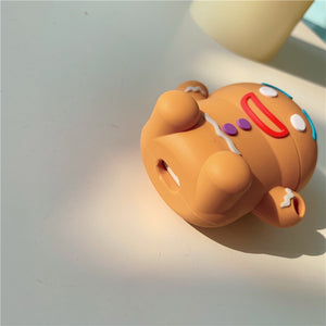 3D Cute Christmas Gingerbread Man Caribou Silicone Headphone Cases for Apple Airpods 1 2