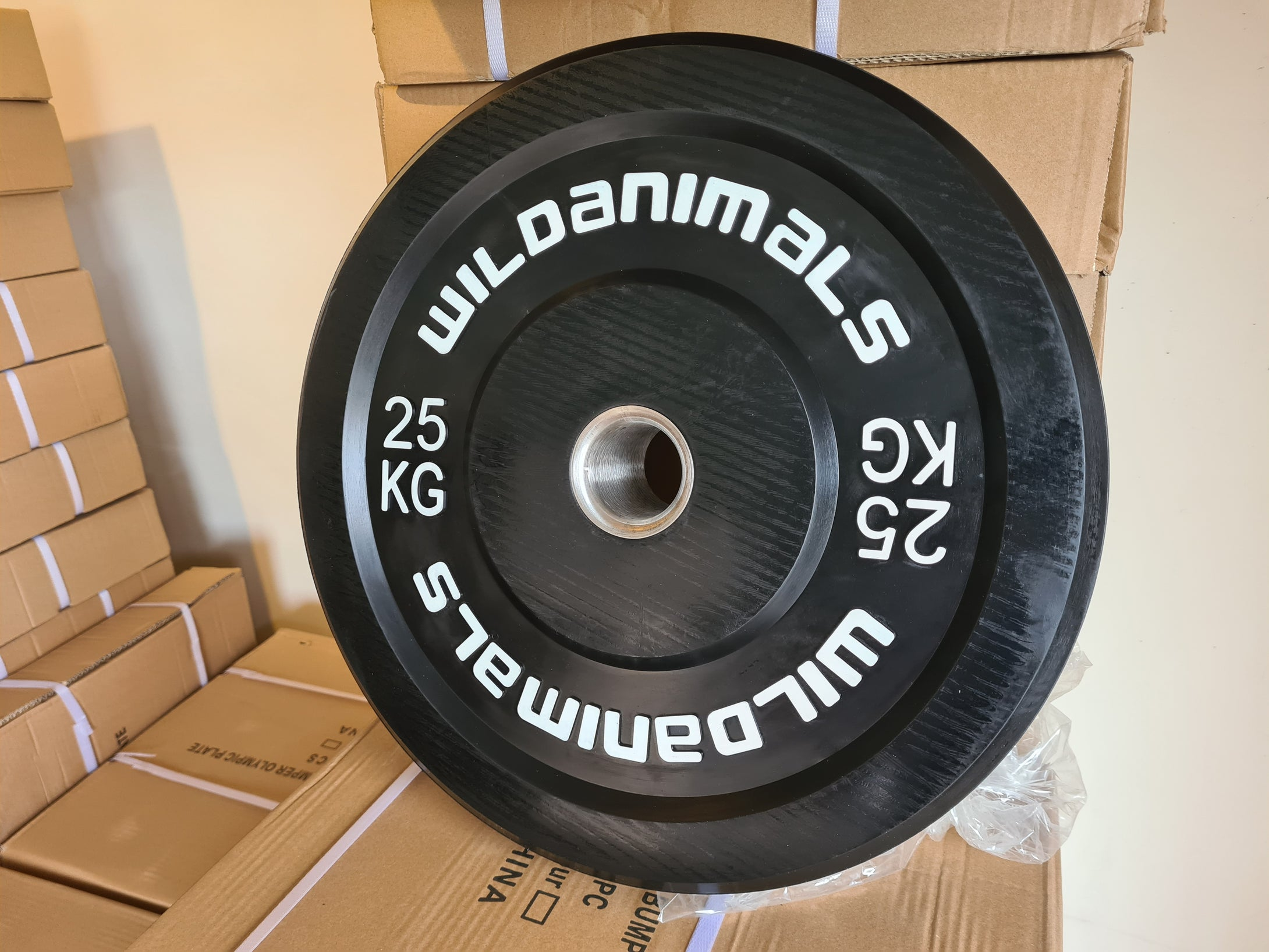 Brand New Wild Animals 2 x 25kg Black Olympic Bumper Plates