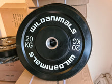 Load image into Gallery viewer, Brand New Wild Animals 2 x 20kg Black Olympic Bumper Plates