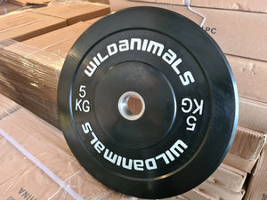 Brand New Wild Animals 2 x 5kg Black Olympic Bumper Plates