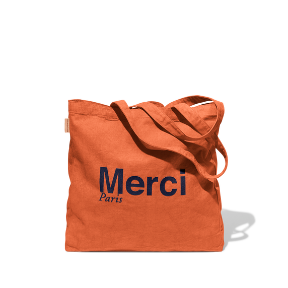 Tote Bag Merci en coton - Orange