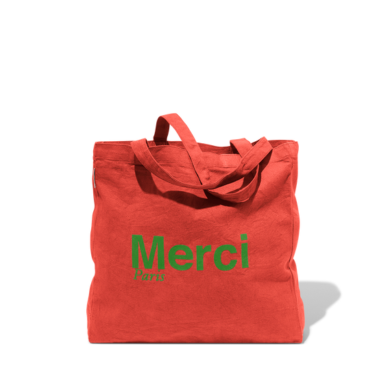 Tote Bag Merci en coton - Rouge